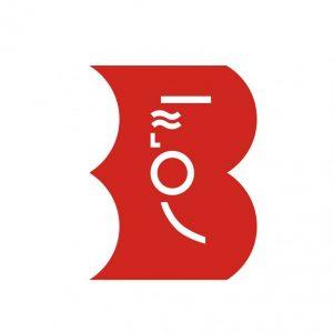 logotyp Biblioteki. Symbol Syrenki Warszawskiej w kolorze białym na tle czerwonego, pełnego B