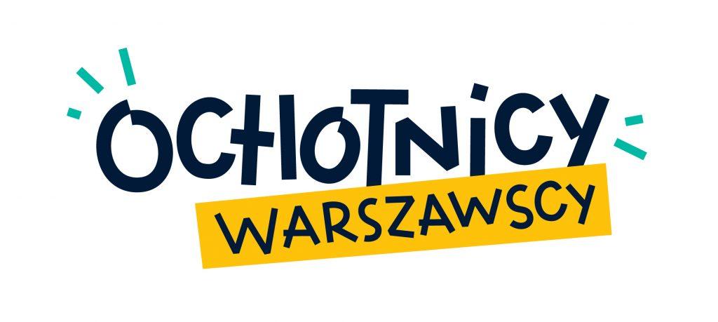 Logotyp Ochotnicy Warszawscy. Granatowy napis Ochotnicy poniżej którego znajduje się dopisek Warszawscy na żółtym pasku