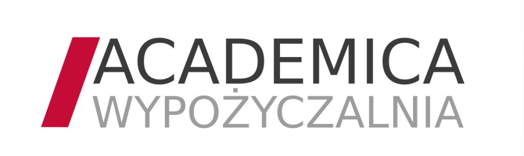 Logotyp platformy ACADEMICA składa się z napisu w dwóch wersach i pochylonego czerwonego prostokątu z lewej strony: na górze czarny napis ACADEMICA a poniżej szary napis WYPOŻYCZALNIA