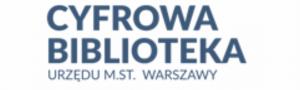 Zakładka przenosi na stronę Cyfrowej Biblioteki. Logotyp składa się z trzech wersów z granatowym napisem. Górny wers: CYFROWA, pod spodem napis BIBLIOTEKA i pod spodem w trzecim wersie Urzędu m.st. Warszawy.