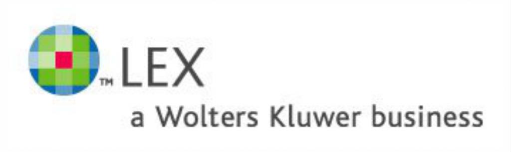 """logotyp serwisu informacji prawnej LEX. Z lewej strony znajduje się zielony piksel z czerwoną kropką na środku a obok widnieje w dwóch wersach napis"""" LEX i pod spodem A WOLTERS KLUWER BUSINESSB"""