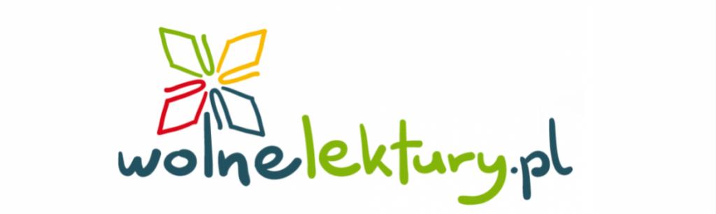 Logotyp Wolne lektury składa się z kolorowego napisu w jednym wersie: słowo wolne w kolorze granatowym, lektury. w kolorze zielonym, pl w kolorze granatowym. Nad literką l w słowie wolne znajduje się czterolistny znak kwiatu w kolorze zielonym, żółtym, czerwonym i niebieskim