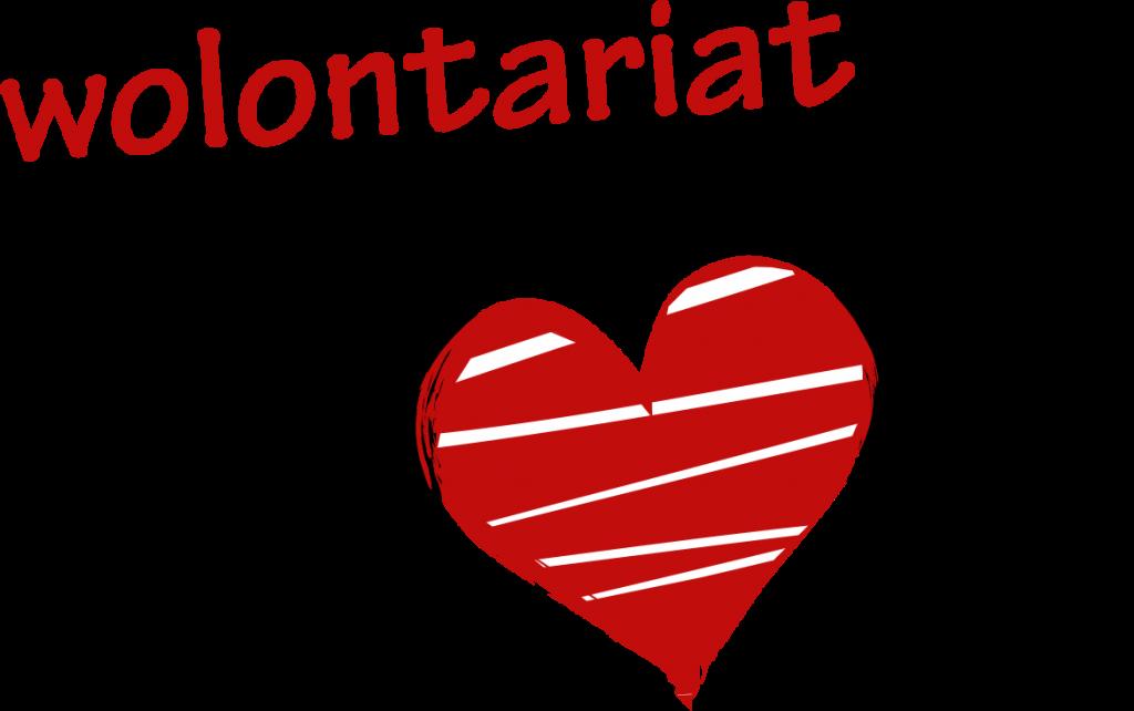 Logotyp Wolontariat Wolę. Czerwony napis wolontariat znajduje się powyżej czarnego napisu WOLĘ przy którym literka O zastąpiona jest czerwonym sercem