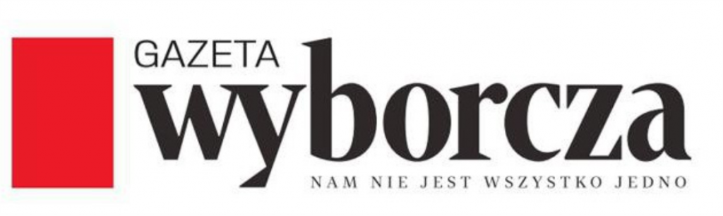 Logotyp Archiwum Gazety Wyborczej. Z lewej strony znajduje się czerwony prostokąt. obok z prawej strony znajduje się napis mniejszą czcionką GAZETA, poniżej napis WYBORCZA a jeszcze poniżej napis: nam nie jest wszystko jedno